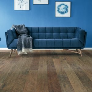 Blue couch on Hardwood floor | All Floors Design Centre