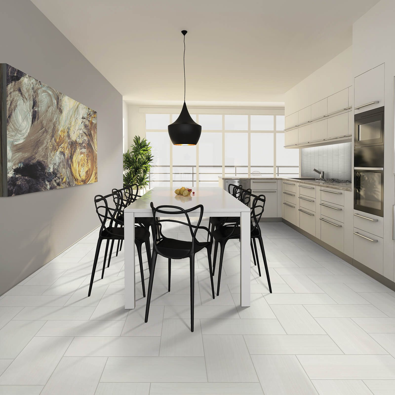 white tile in kitchen | All Floors Design Centre